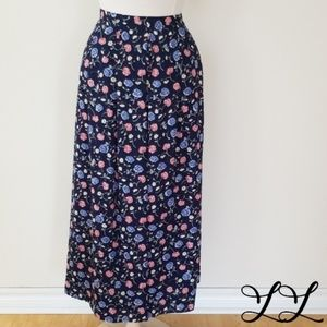 Vintage Talbots Skirt Blue Pink Flowers Long 90s